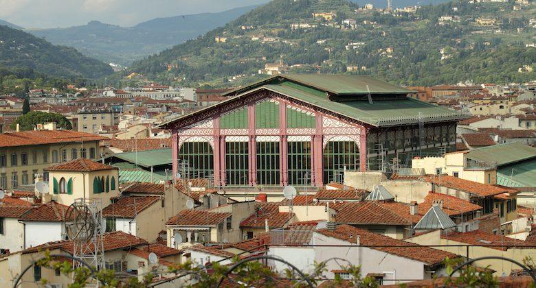 The Mercato Centrale ( Central Market ), or Mercato di San Lorenzo and florentine hills, Florence, Italy