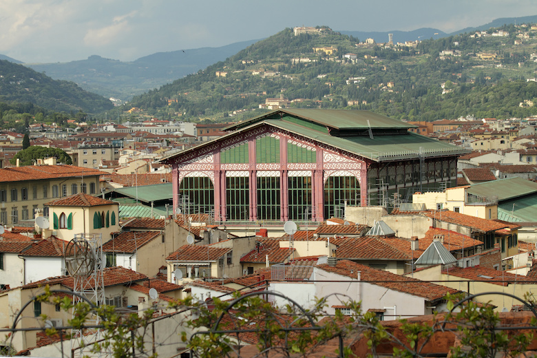 The Mercato Centrale ( Central Market ), or Mercato di San Lorenzo and florentine hills, Florence, Italy