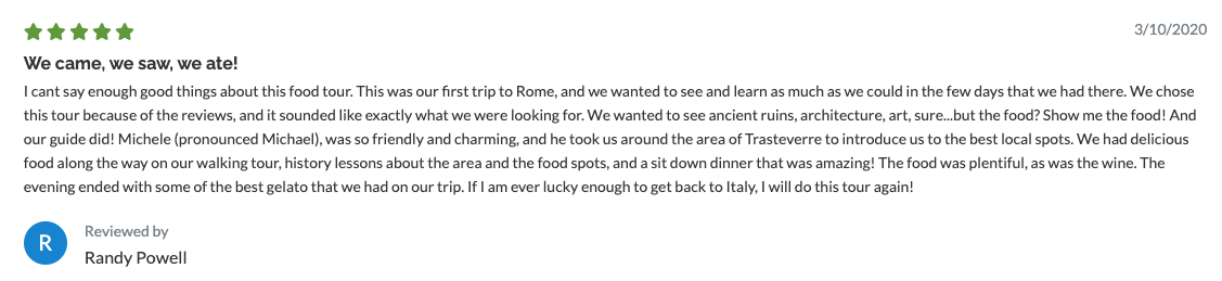 Trastevere Locals Food Tour Review