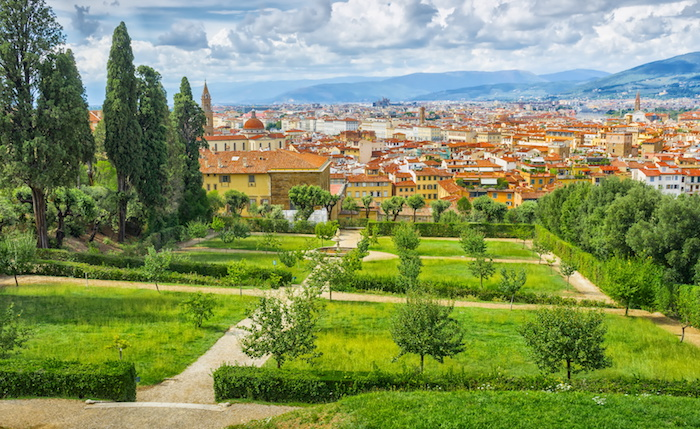 View on Florence, Italy -Bardini Gardens (Giardino Bardini) near Palazzo Pitti in Florence
