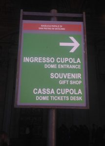 Things to do in Rome - St Peters Dome Entrance Sign