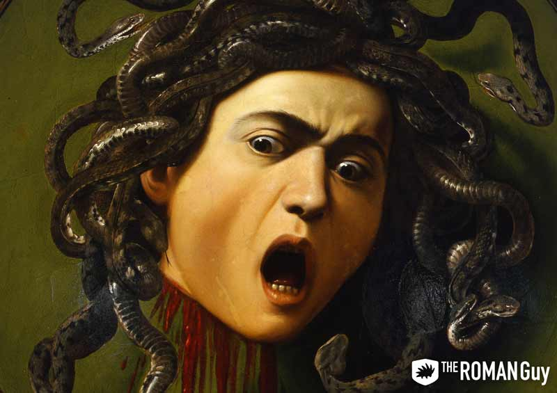 Caravaggio painting of Medusa at the Uffizi Gallery in Florence, Italy