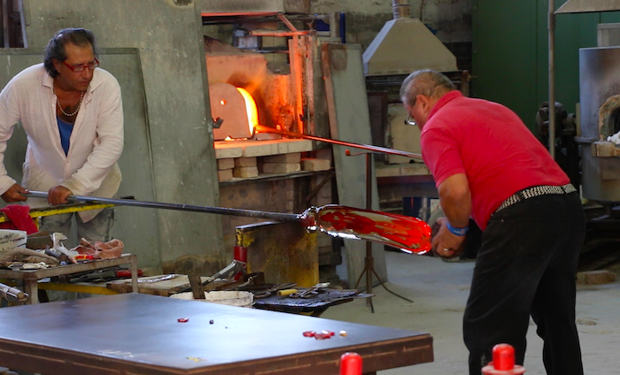 venice glass blowing