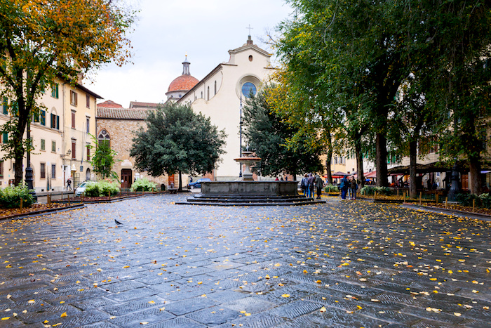 Piazza Santo Spirito with Basilica in autumn - Piazza in Florence