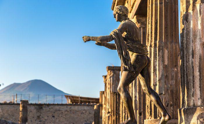 Pompeii Statue Mt Vesuvius