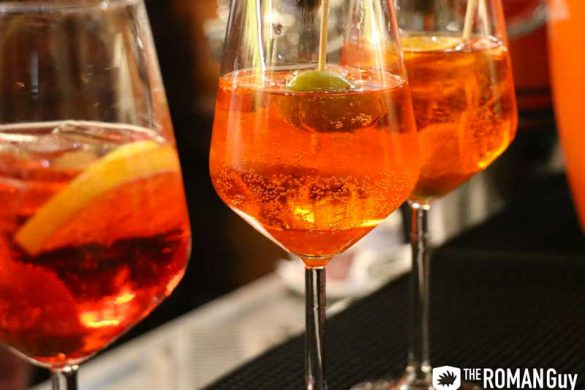 Campari and Aperol Spritz cocktails are commonly ordered for aperitivo in Italy