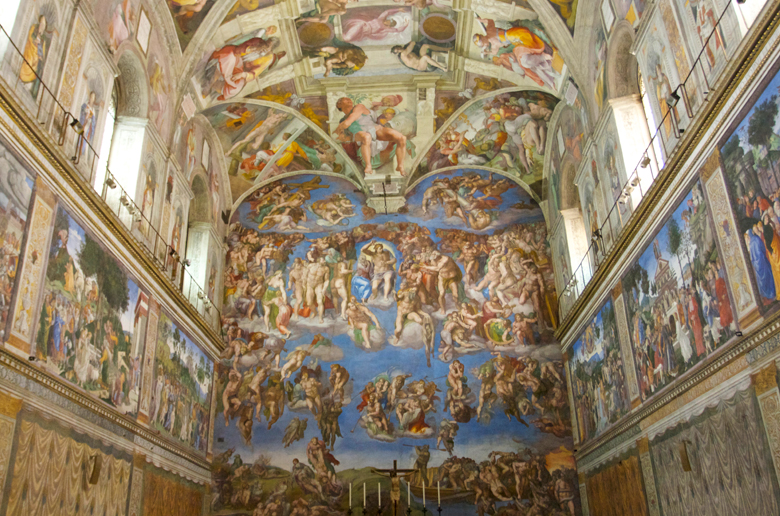 an analysis of the sistine chapel ceiling by michelangelo buonarroti Painted 500 years ago, michelangelos fresco masterpiece was commissioned by pope sixtus iv and took four years to complete the center panels of the sistine ceiling depict nice scenes from the book of genesis.
