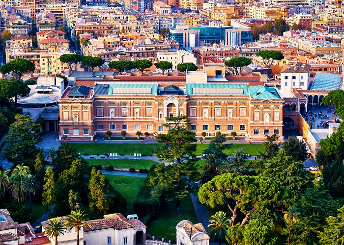 Pinacoteca Vaticana, part of the Vatican museums, inside Vatican City surrounded by Vatican Gardens viewed from top of the dome of the basilica of St. Peter