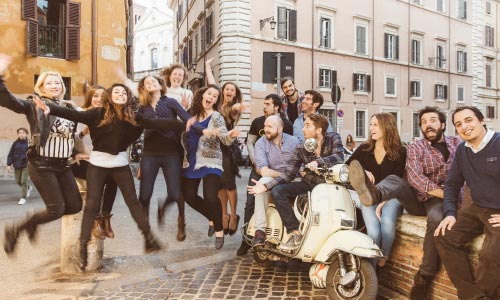 about us jumping in Rome after delivering the best tours in town