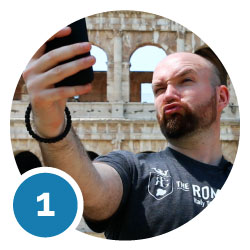 about us the best of Italy selfie colosseum background