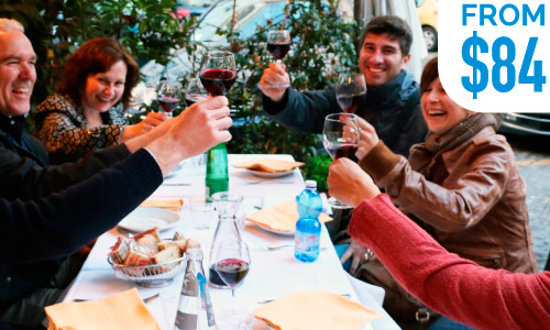 best Italy food tours cheers red wine glasses