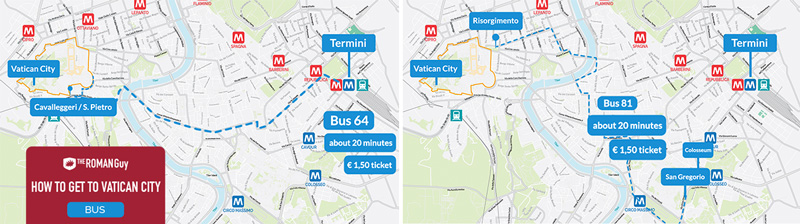 bus 81 and 64 - how to get to vatican