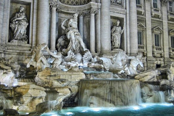 Top Fountains in Rome Trevi by night illuminated