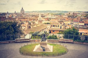 A panoramic view of the ancient city of Rome from Villa Borghese Garden. Rome, Italy