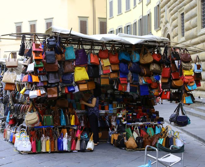 leather market in Florence, Italy