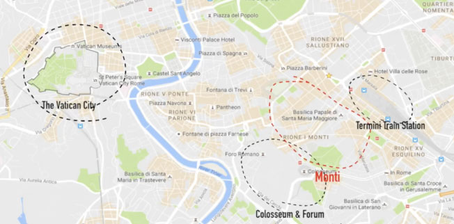 map Rome monti itinerary and neighborhood what to see in Rome