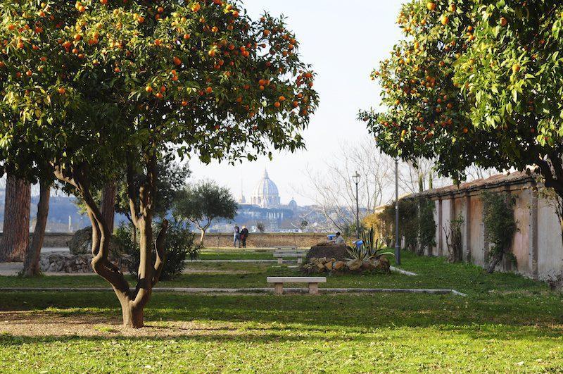 San Pietro dal Colle Aventino, giardino con aranci, panorama