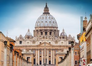view of St Peter's Basilica in Rome, Vatican, Italy