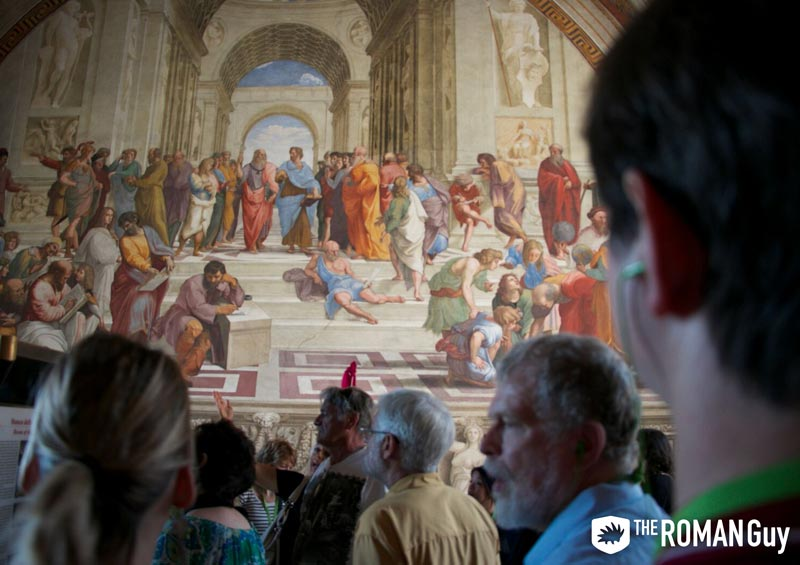 School of Athens by Raphael in the Raphael Rooms at the Vatican Museums in Rome, Italy
