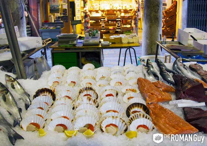 The Rialto Market in Venice, Italy is a good place to eat for cheap