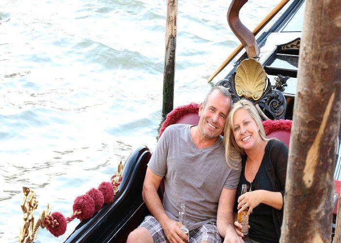 Venice gondola couple, Venice, Italy